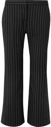 Alexander McQueen Cropped Pinstriped Wool-blend Flared Pants - Black