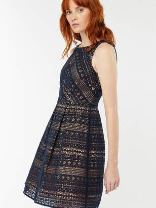 Monsoon Jacey Lace Dress - Navy