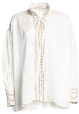Zimmermann Corsage Faux Pearl Button Shirt