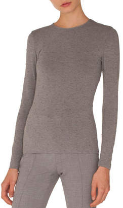 Akris Punto Round-Neck Long-Sleeve Studded Jersey Knit Top