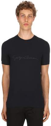Giorgio Armani Flocked Signature Stretch Jersey T-Shirt
