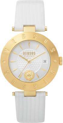Versace Logo Leather Strap Watch, 34mm
