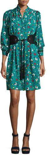 Marc Jacobs Marc Jacobs Painted Flowers Belted Silk Jacquard Shirtdress, Blue
