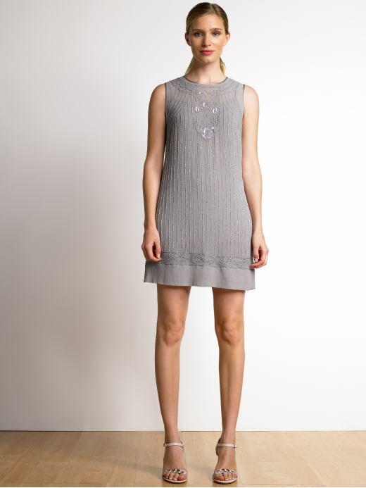Beaded mini dress - Bottlenose gray