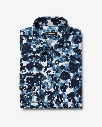 Express Slim Camo Floral Dress Shirt