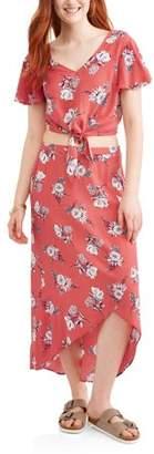 No Boundaries Juniors' Top and Skirt Two Piece Tie Front Set