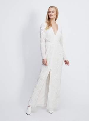 Miss Selfridge Ivory embroidered front split maxi dress