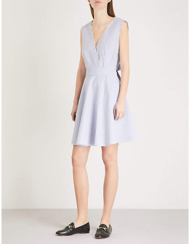 Raleuse striped open-back cotton mini dress
