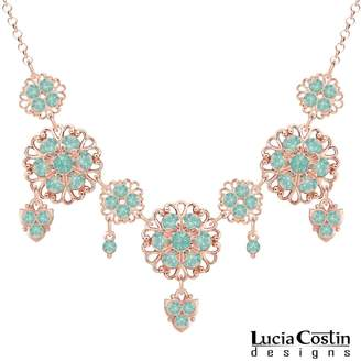 Swarovski European Inspired Collar Necklace Designed by Lucia Costin with Dots, Adorned with Filigree Accents and Crystals; 24K Pink Gold Plated over .925 Sterling Silver