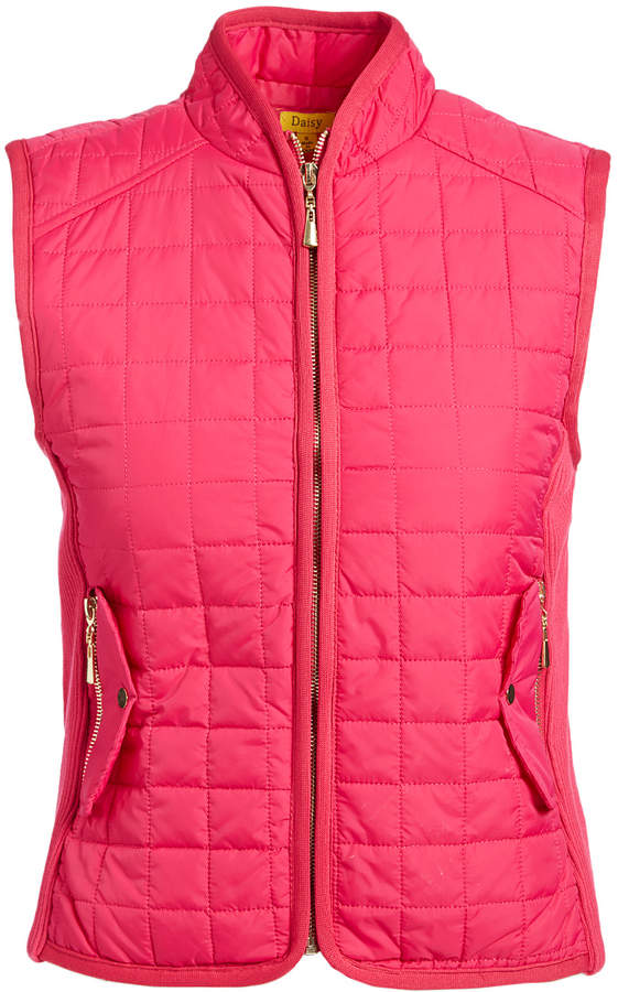 Magenta Snap Pocket Quilted Puffer Vest - Women & Plus