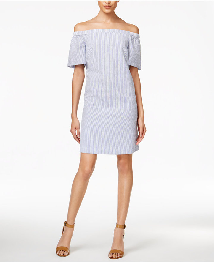 Maison Jules Seersucker Off-The-Shoulder Dress, Only at Macy's