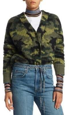 Proenza Schouler PSWL Camo Jacquard Knit V-Neck Cardigan