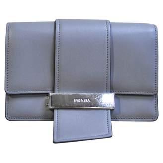 Prada Ribbon Grey Leather Clutch Bag