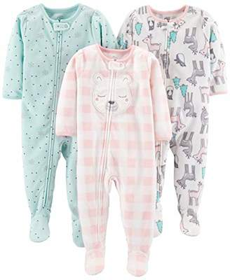 Carter's Simple Joys by Girls' Toddler 3-Pack Loose Fit Flame Resistant Fleece Footed Pajamas