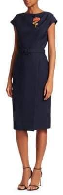Oscar de la Renta Belted Cap Sleeve Wool& Silk Wrap Dress