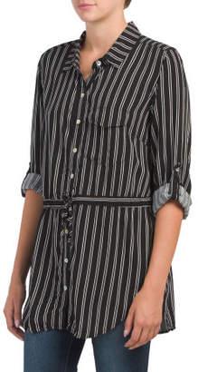 Stired Drawstring Tunic Shirt