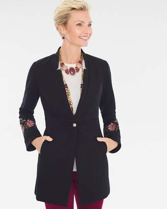 Chico's Chicos Floral-Embroidered Ponte Jacket