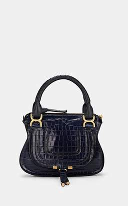Chloé Women's Marcie Small Crocodile-Stamped Leather Satchel - Navy