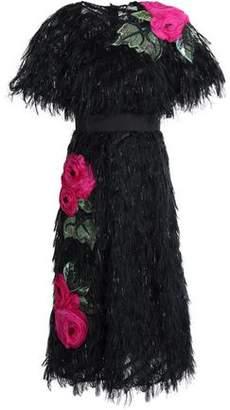 Dolce & Gabbana Floral-Appliquéd Fringed Fil Coupé Organza Midi Dress