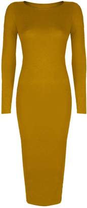 Baleza Women's Inspired Long Sleeve Bodycon Midi Calf Length Dress S/M 8-10