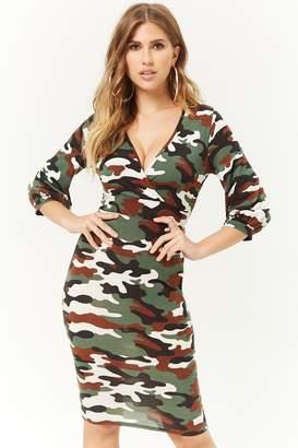 Forever 21 Camo Print Surplice Dress