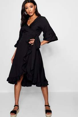 boohoo Ruched Sleeve Wrap Midi Dress