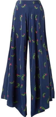 Jaline - Charlotte Floral-print Silk Crepe De Chine Wide-leg Pants - Bright blue