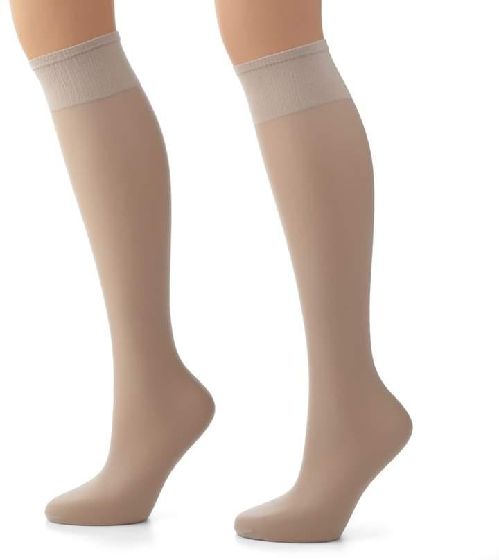 Hanes Plus 2-pk. Silk Reflections Silky Sheer Knee-High Pantyhose