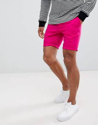 Asos DESIGN Skinny Chino Shorts In Bright Pink