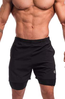Jed North Men's Performance Training 2 in 1 Compression Running Shorts