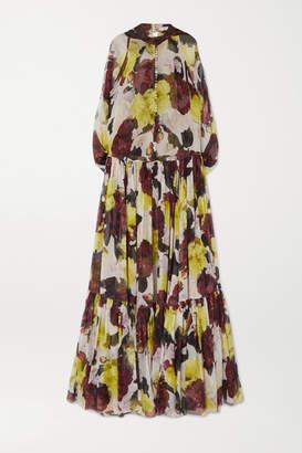 Erdem Julianne Ruffled Floral-print Silk-chiffon Gown - Yellow