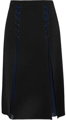 Karl Lagerfeld Layered Crepe And Pleated Georgette Midi Skirt - Black