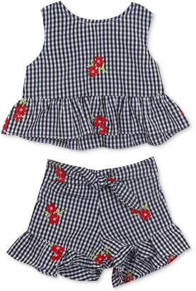Rare Editions 2-Pc. Embroidered Gingham Top & Shorts Set, Baby Girls