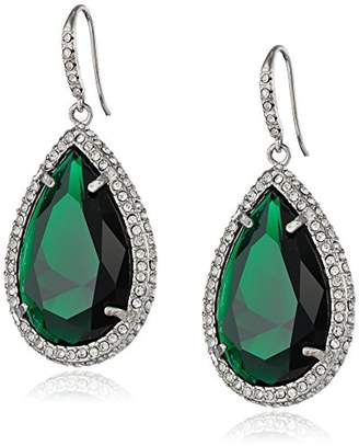 At Abs By Allen Schwartz Silver Tone With Emerald Color Crystal And Pave Earrings