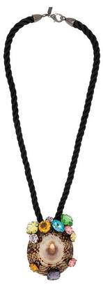 Kenneth Jay Lane Black Rope And Natural Shell Necklace