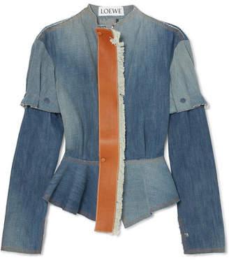 Loewe Leather-trimmed Denim Peplum Jacket - Mid denim
