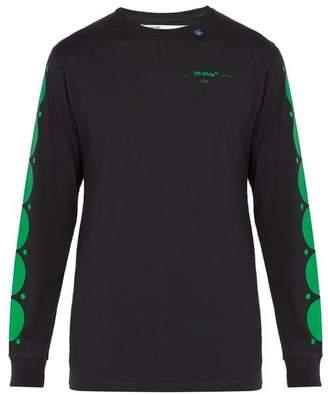 Off-White Off White Dot Print Long Sleeved Cotton T Shirt - Mens - Black