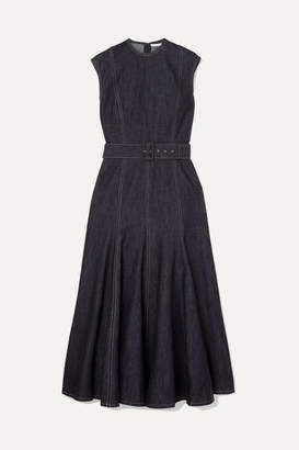 Emilia Wickstead Ellen Belted Denim Midi Dress - Blue