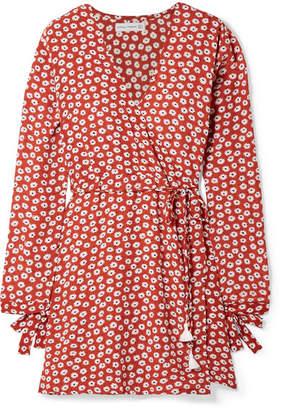 Faithfull The Brand Poppy Wrap-effect Floral-print Crepe Mini Dress