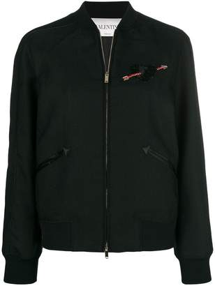 Valentino heart embroidered bomber jacket