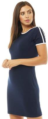 Brave Soul Womens Cristal Side Stripe T-Shirt Dress Navy/White