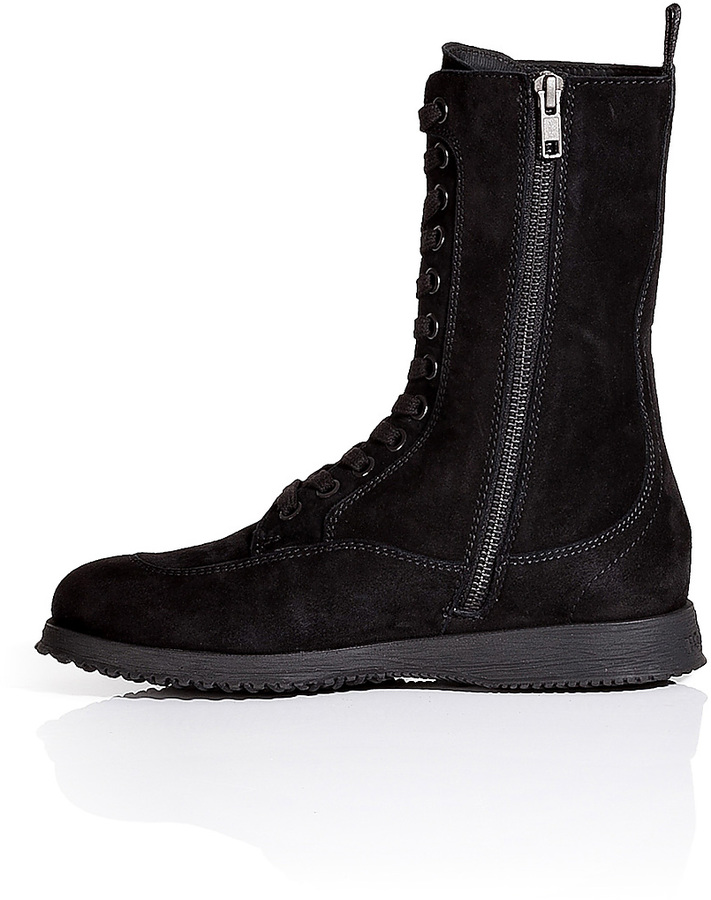 Hogan Suede Lace-Up Boots