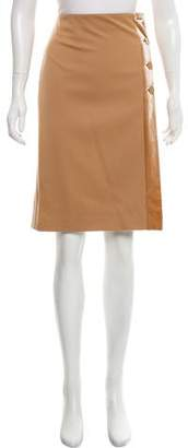 Salvatore Ferragamo Wool and Velvet-Accent Skirt