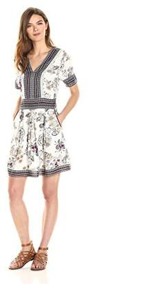 Ella Moon Women's Kelcie Short Sleeve V Neck Border Print Fit and Flare Dress