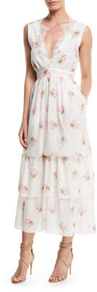 Brock Collection Sleeveless V-Neck Floral-Print Tiered Dress w/ Lace Trim