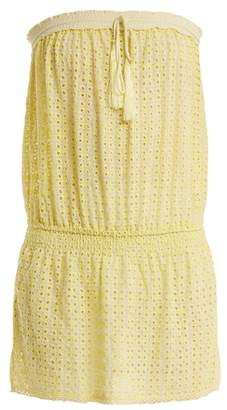 Melissa Odabash Adela Strapless Broderie Anglaise Dress - Womens - Yellow