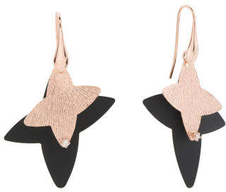 Made In Italy Plated Sterling Silver Enamel Star Earrings