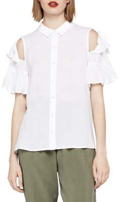 BCBGeneration Short-Sleeve Ruffle Shirt