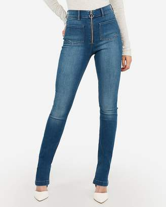 Express Super High Waisted Zip Fly Patch Pocket Skyscraper Jeans