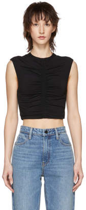 Alexander Wang Black Cropped Ruched Tank Top